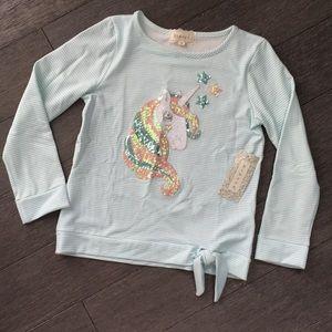 Girls unicorn top shirt long sleeve 10